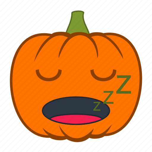emoji, emotion, halloween, holiday, pumpkin, sleepy, snooze icon