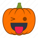 emoji, halloween, holiday, pumpkin, smiley, tongue, wink icon