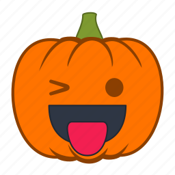 emoji, halloween, holiday, pumpkin, smiley, tongue, wink icon