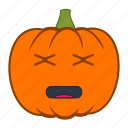 emoji, emotion, halloween, holiday, pumpkin, tired icon