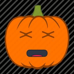 emoji, emotion, halloween, holiday, pumpkin, tired icon