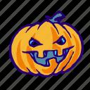 jack, lantern, monster, pumpkin, halloween, face, o