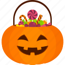 basket, candy, halloween, pumpkin, sweet, trick or treat icon