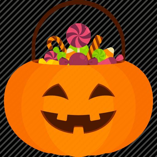 Trick Or Treat Sweet Halloween Candy Basket Pumpkin Icon