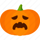 carved, halloween, jack o lantern, pumpkin, sad icon