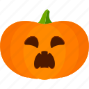 carved, halloween, jack o lantern, pumpkin, scared icon