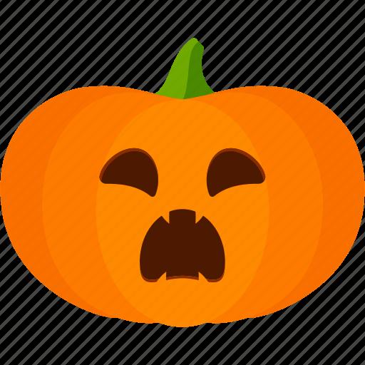 carved, halloween, jack o lantern, pumpkin, scared icon