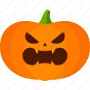 angry, carved, halloween, jack o lantern, pumpkin icon