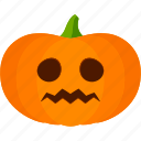 carved, halloween, jack o lantern, pumpkin, worried icon