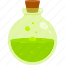 bottle, green, halloween, poison, potion icon