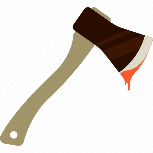 axe, blood, brown, halloween, red, tool, weapon icon