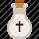 bottle, cross, crucifix, halloween, holy water icon