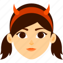 character, costume, devil, girl, halloween icon