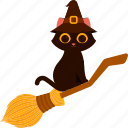animal, broom, cat, character, costume, halloween, witch hat icon