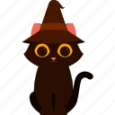 animal, cat, character, costume, halloween, witch hat icon