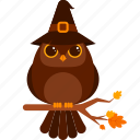 animal, character, costume, halloween, owl, witch hat icon