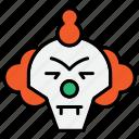clown, ghost, halloween, jester, joker, scary icon