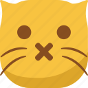 cat, emoji, emoticon, shut up, silent, smiley icon