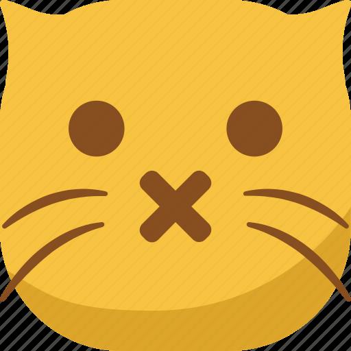 cat, emoji, emoticon, shut up, silent, smiley icon