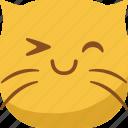 cat, emoji, emoticon, happy, smile, smiley, smirk icon