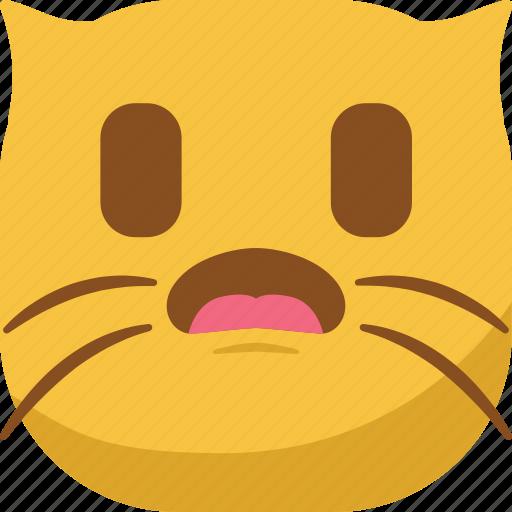 cat, emoji, emoticon, smiley, surprised, wondering icon