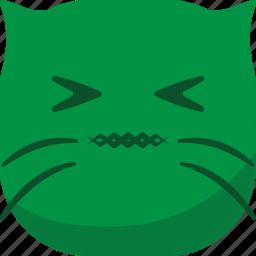 cat, emoji, emoticon, gross, hurt, sick, smiley icon