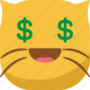cat, dollar, emoji, emoticon, money, smiley icon