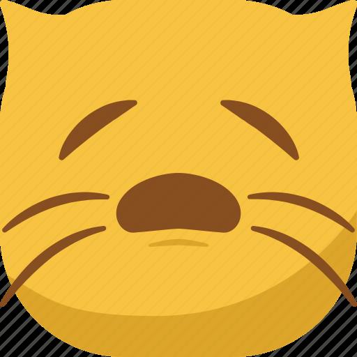cat, emoji, emoticon, sad, sleepy, smiley icon