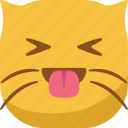 cat, emoji, emoticon, happy, smiley, smirk, tongue icon