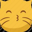 cat, emoji, emoticon, kiss, smiley, whistle icon