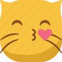 cat, emoji, emoticon, kiss, love, lovely, smiley icon