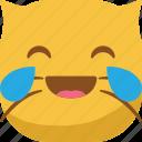 cat, drop, emoji, emoticon, laugh, lol, smiley icon