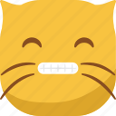 cat, emoji, emoticon, smile, smiley, smirk, teeth icon