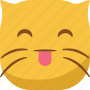 cat, emoji, emoticon, smiley, smirk, tongue icon