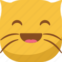 cat, emoji, emoticon, happy, laugh, smiley icon