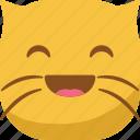 cat, emoji, emoticon, happy, laugh, smiley icon