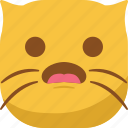 cat, emoji, emoticon, smiley, surprised, wonder icon