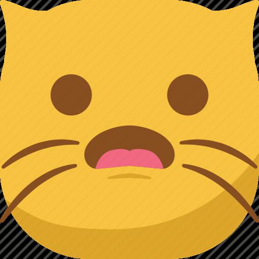 cat, emoji, emoticon, smiley, surprised, wonder icon