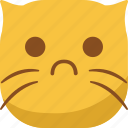 cat, emoji, emoticon, sad, smiley