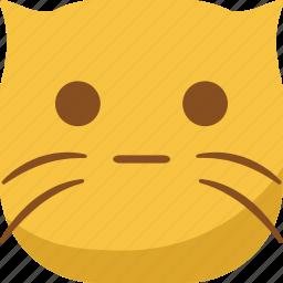 cat, emoji, emoticon, faceless, smiley, surprised, wonder icon