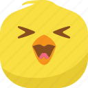 chick, chicken, emoji, happy, laugh, smiley, spoiled icon