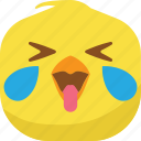 chick, chicken, drop, emoji, happy, laugh, smiley icon