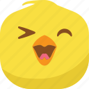 chick, chicken, emoji, happy, smile, smiley icon