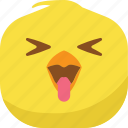 chick, chicken, emoji, laugh, smiley, spoiled, tongue icon