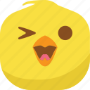 chick, chicken, emoji, happy, laugh, smiley icon