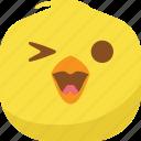 chick, chicken, emoji, happy, laugh, smiley icon