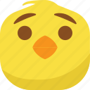 chick, chicken, emoji, smiley, surprised, wondering icon