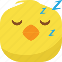 chick, chicken, emoji, sleep, sleepy, smiley icon