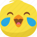 chick, chicken, drop, emoji, laugh, lol, smiley icon