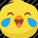 chick, chicken, drop, emoji, laugh, lol, smiley icon